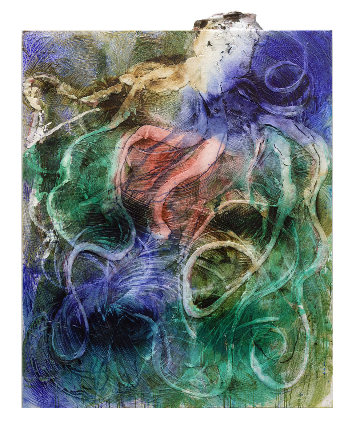 Pintura de Miquel Barceló del año 2019. Técnica mixta sobre lienzo. Medidas 259 x 205cm. Tiene una cabeza de pulpo que sobresale del lienzo