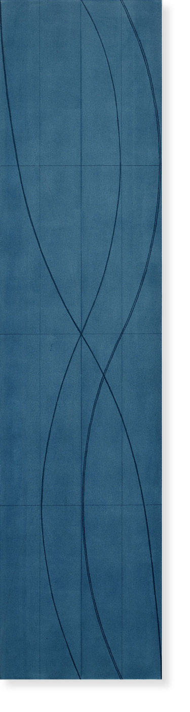 Robert Mangold painting titled Double line column 3a, from year 2005