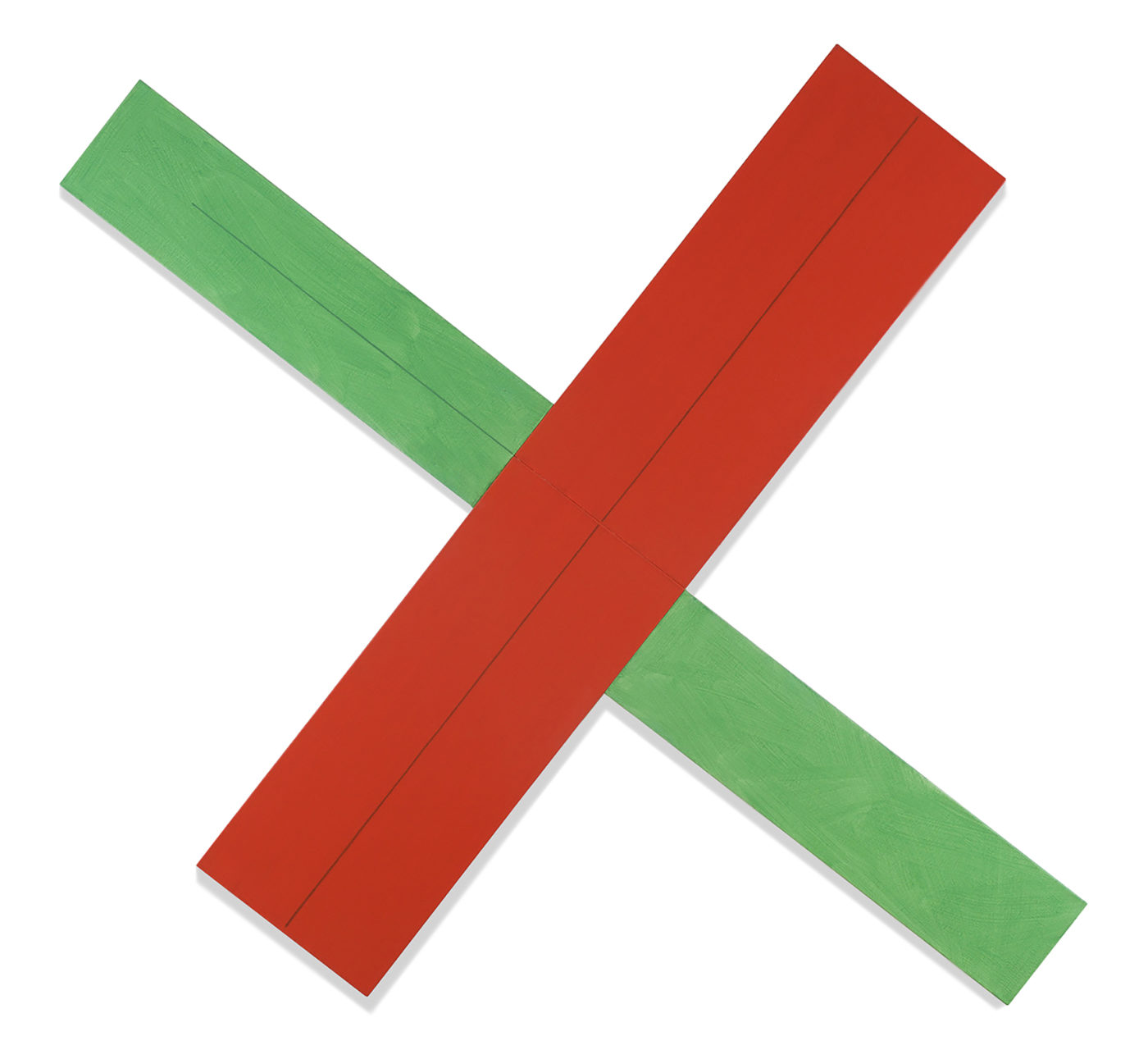 Robert Mangold painting titled Red green x within x #2, from year 1982