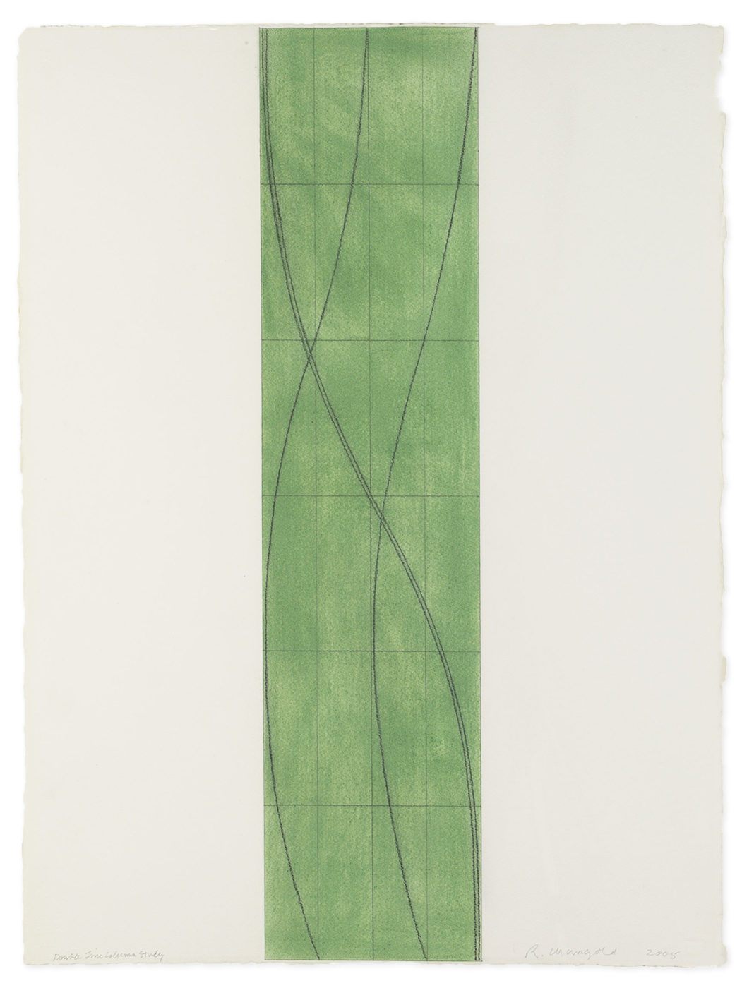Robert Mangold painting titled Double line column study, from year 2005